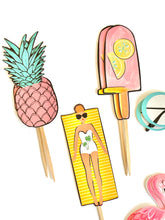 Load image into Gallery viewer, Vacay Vibes Cupcake Toppers. Summer Fun Party Decor. Beach Theme Cupcake Decor. Pool Party. Summertime Party. Summer Sticker Set.