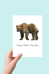 Papa Bear Father's Day Card, Printable Card, Happy Father's Day Papa