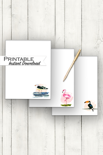 Watercolor Bird Stationary Bundle, Pink Flamingo, Toucan, Seagull, Tropical Stationary, Printable Stationary, Bird Lover Gift