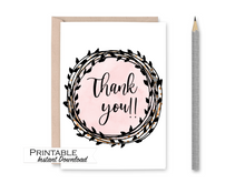 Load image into Gallery viewer, Thank you Card, Pink and Black Card, Printable Card