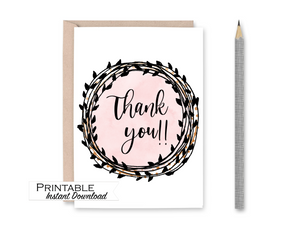 Thank you Card, Pink and Black Card, Printable Card