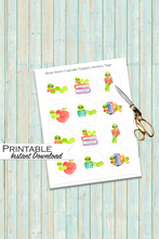 Load image into Gallery viewer, Bookworm Sticker, Bookworm Party, Printable Stickers, Book Club Gifts, Homeschool Printables, Bookworm Cupcakes, Book Club, Book Lover Gift