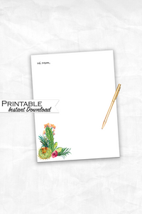 Cactus Stationary, Watercolor Cactus Stationary, Printable Stationary, Floral Print, Orange and Green, Floral Stationary, Mother's Day Gift