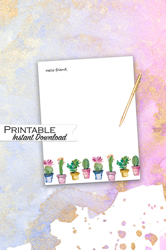 Watercolor Cactus Stationary, Printable Stationary, Floral Stationary, Cactus Stationary, Printable Thank You, Cactus Party