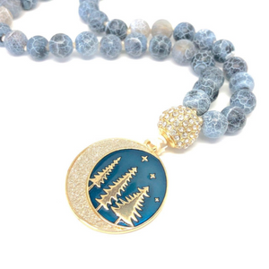Moon and Stars Necklace, 108 Bead Mala Necklace, Agate Necklace