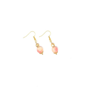 Peach Swirl with Gold Accents - Dangle Earrings