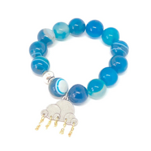 Load image into Gallery viewer, Blue Cloud Charm Bracelet. Aqua Dyed Agate Gemstone Bracelet. Agate Beads. Healing Large Bead Bracelet.