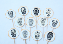 Load image into Gallery viewer, Sugar Skull Cupcake Toppers, Day of the Dead, Halloween Cupcake Toppers