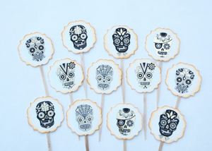 Sugar Skull Cupcake Toppers, Day of the Dead, Halloween Cupcake Toppers