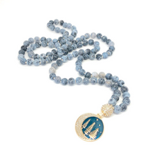 Load image into Gallery viewer, Moon and Stars Necklace, 108 Bead Mala Necklace, Agate Necklace