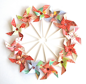 Valentine's Day Cupcake Topper Pinwheels. Love Day Sequined Pinwheels. Red Paper Pinwheels. Valentines Decor.