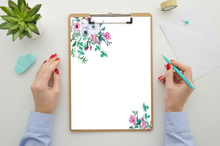 Load image into Gallery viewer, Floral Pink and Green Watercolor Stationary , Stationary Printable, Wedding Stationary