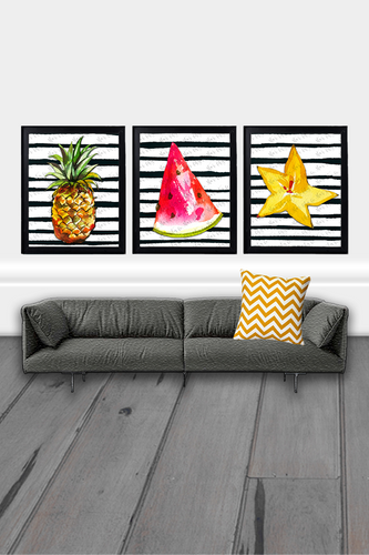 Fruit Wall Art, Fruit Printables, Tropical Print, Set of 3 Prints, Pineapple Wall Art, Watermelon Decor, Starfruit, Watercolor Print