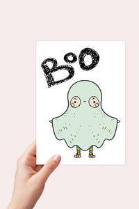 Cute Ghost Card, Boo Bag, Ghost, Halloween Card Printable
