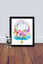 Load image into Gallery viewer, Hotair Balloon Wall Art, Personalized Wall Art, Custom Printable, Nursery Art Print, Nursery Name Sign, Baby Shower Gift, Floral Art