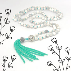 Tassel Necklace, Howlite 108 Bead Mala Necklace, White Necklace, Hand-knotted Necklace