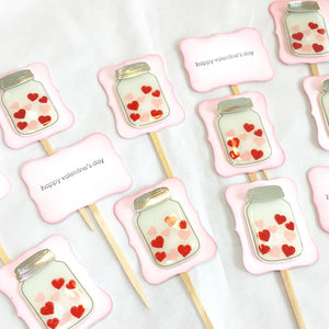 Valentine Hearts in a Jar cupcake toppers. Wedding decorations. Love day. Valentines Day party supplies. Happy Valentine's day. Stamped.