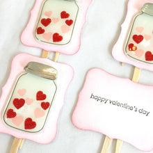 Load image into Gallery viewer, Valentine Hearts in a Jar cupcake toppers. Wedding decorations. Love day. Valentines Day party supplies. Happy Valentine's day. Stamped.