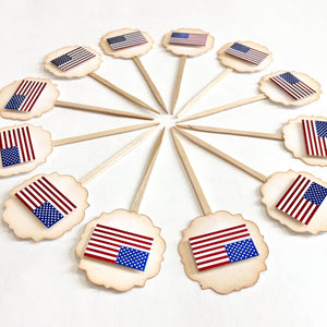 American Flag Cupcake toppers. Memorial day party supplies. Fourth of July decorations. Labor Day. Veterans Day cupcake toppers. 'Merica.