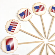 Load image into Gallery viewer, American Flag Cupcake toppers. Memorial day party supplies. Fourth of July decorations. Labor Day. Veterans Day cupcake toppers. 'Merica.