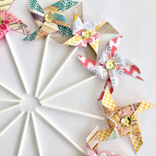 Load image into Gallery viewer, Aztec in the City Sequined Pinwheels. Pinwheel Cupcake Toppers. Paper Pinwheels. Pinwheel Birthday. Summer Party decorations. Pinwheel Party
