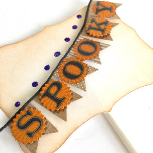 Halloween Banner Cake Toppers, Halloween Party Decor, Set of 4