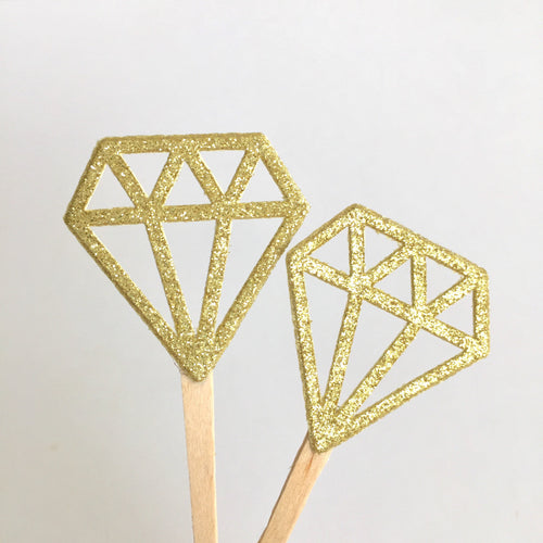 Gold glitter diamonds. Diamond ring cupcake Toppers. Wedding decorations. Bridal shower decor. Wedding cake toppers. Something gold.