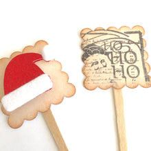 Load image into Gallery viewer, Ho Ho Ho, Christmas Cupcake Toppers, Santa Hat Decor