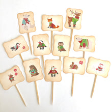 Load image into Gallery viewer, Woodland Christmas Cupcake Toppers. Animal Holiday Picks. Woodland Party. Penguins. Polar Bears. Reindeer.