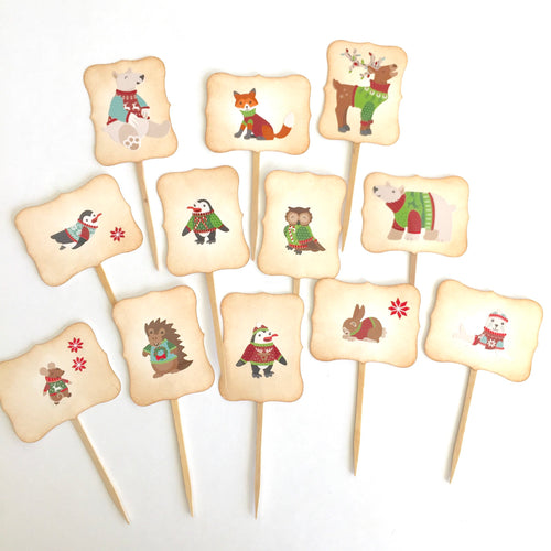 Woodland Christmas Cupcake Toppers. Animal Holiday Picks. Woodland Party. Penguins. Polar Bears. Reindeer.