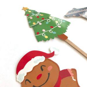 Woodland Party Decor. Woodland Christmas. Christmas Woodland Plaid Cupcake Toppers.