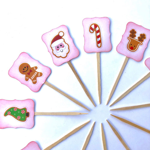 Red Christmas Cupcake Toppers. Kids Christmas Food Picks. Santa. Gingerbread Man. Christmas Tree. Reindeer. Rudolph. CandyCane.