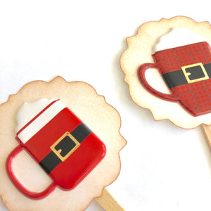 Hot Cocoa Christmas Decor. Red Plaid. Coffee Food Picks. Santa Christmas Cupcake Toppers.