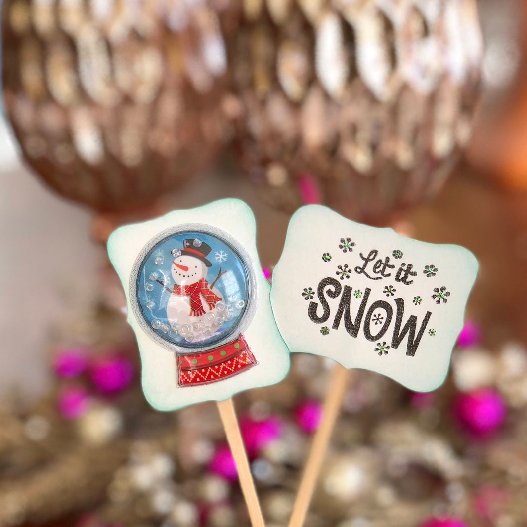 Snow Globe Cupcake Toppers, Let it Snow, Holiday Party Decor