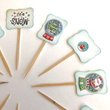 Load image into Gallery viewer, Snow Globe Cupcake Toppers, Let it Snow, Holiday Party Decor