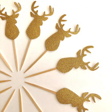 Load image into Gallery viewer, Gold Glitter Deer Cupcake Toppers. Gold Deer Stickers. Christmas Party Decor.