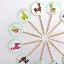 Load image into Gallery viewer, Llama Cupcake Toppers. Llama Baby Shower. Llama Birthday Party. Llamaste.