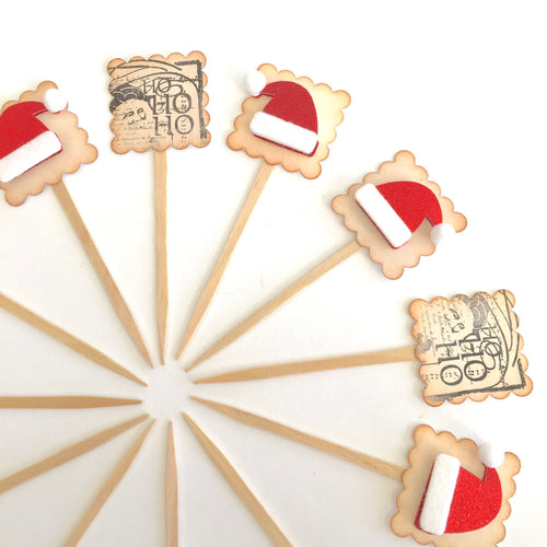 Ho Ho Ho, Christmas Cupcake Toppers, Santa Hat Decor