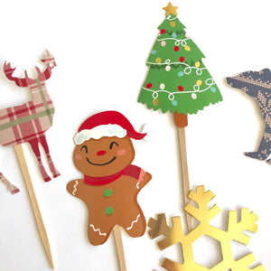 Woodland Christmas, Christmas Cupcake Toppers, Woodland Party Decor