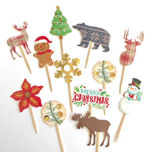Load image into Gallery viewer, Woodland Christmas, Christmas Cupcake Toppers, Woodland Party Decor