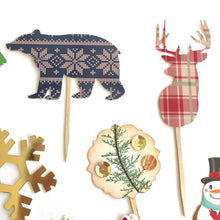 Load image into Gallery viewer, Woodland Party Decor. Woodland Christmas. Christmas Woodland Plaid Cupcake Toppers.
