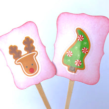 Load image into Gallery viewer, Kids Christmas Cupcake Toppers, Christmas Decor, Santa, Rudolph