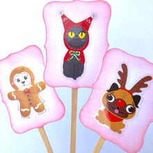 Load image into Gallery viewer, Dog Christmas Cupcake Toppers, Cat Christmas Cupcake Toppers, Kid Christmas Cupcakes