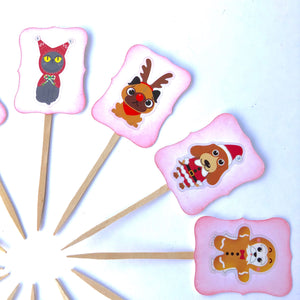 Dog Christmas Cupcake Toppers, Cat Christmas Cupcake Toppers, Kid Christmas Cupcakes