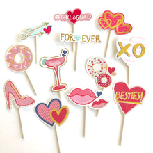 Load image into Gallery viewer, Girlsquad Valentine's cupcake toppers. Donuts. Arrows. Gold hearts. Besties. Forever. Lips. XO. Martini. Valentine party supplies. Love day.