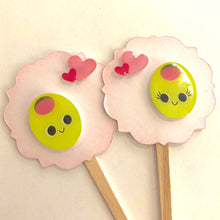 Load image into Gallery viewer, Valentines Cupcake Toppers. Olive You Valentine's Cupcake Toppers. Kawaii. Donuts. Arrows. Gold Heart. Lips. XO. Valentine Party Decor.