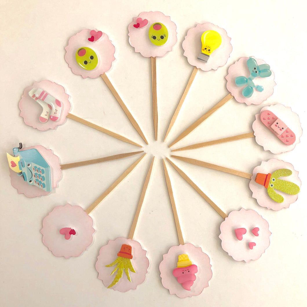 Valentines Cupcake Toppers. Olive You Valentine's Cupcake Toppers. Kawaii. Donuts. Arrows. Gold Heart. Lips. XO. Valentine Party Decor.
