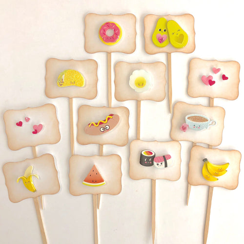 Kawaii Valentines Cupcake Toppers. Donuts. Hearts. Vday party supplies. Avocados. Egg. Taco. Hot Dog. Sushi. Bananas. Watermelon. Coffee.