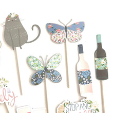 Load image into Gallery viewer, Backyard picnic cupcake toppers. Spring stickers. Butterfly supplies. Wine. Stop and smell the roses. Always be lovely. Bee. Bridal shower.
