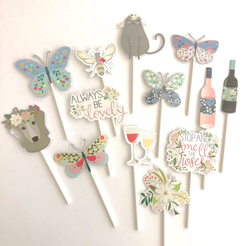 Backyard picnic cupcake toppers. Spring stickers. Butterfly supplies. Wine. Stop and smell the roses. Always be lovely. Bee. Bridal shower.